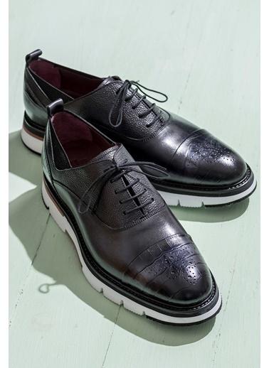 Elle %100 Deri Bağcıklı Ayakkabı Antrasit